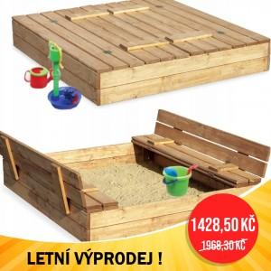 LETNÍ VÝPRODEJ Zavíratelné pískoviště s lavičkami 120 x 120 cm