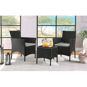 Zahradní ratanový kávový set v černé barvě