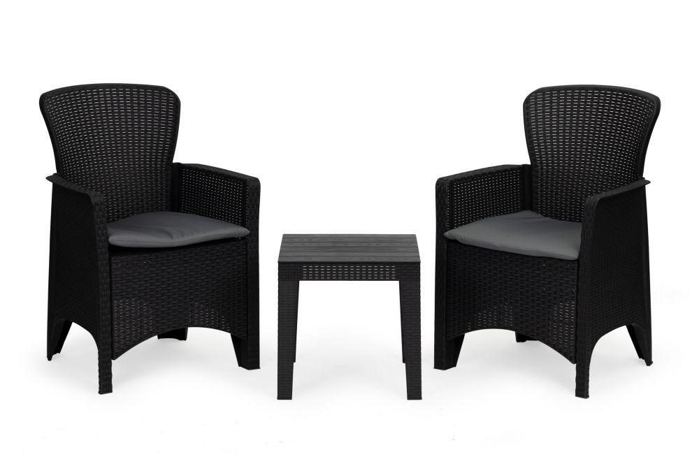 Elegantní zahradní set s texturou ratanu v černé barvě