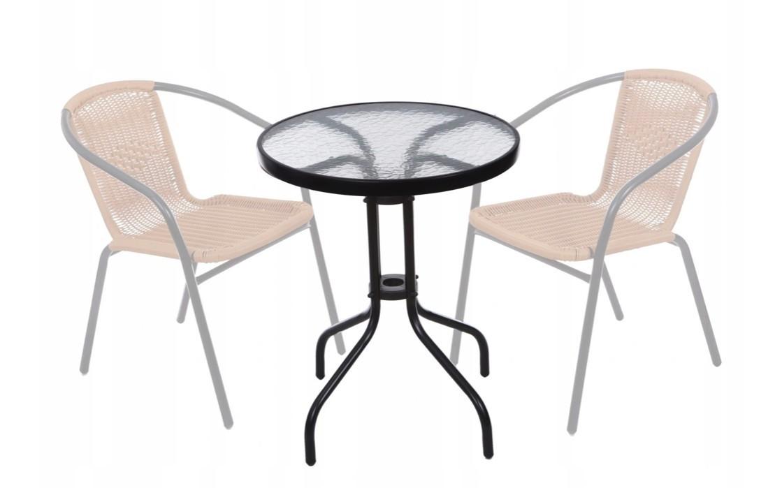 Kulatý zahradní stůl 60 cm skleněný