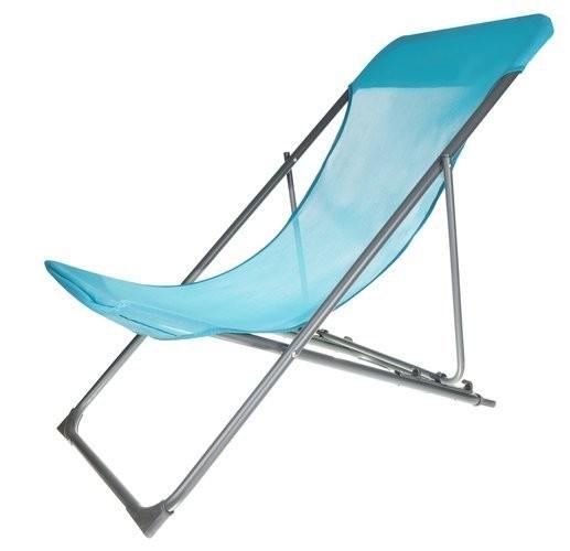 Skládací modré plážové lehátko