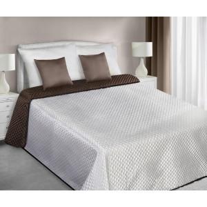 Saténový prošívaný ecru hnědý přehoz na manželskou postel