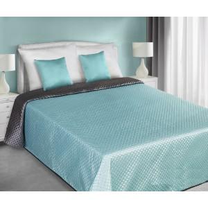 Šedě tyrkysové saténové oboustranné přehozy na postel