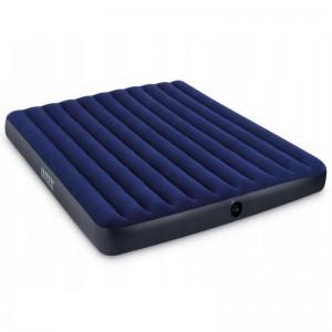 Modrý nafukovací matrac pro dvě osoby se sametovým povrchem