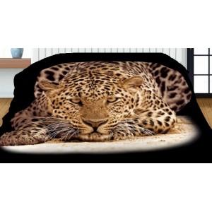 Černé oboustranné přehozy s potiskem leoparda