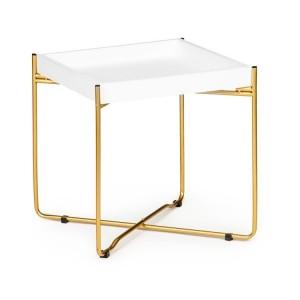 Elegantní bílý konferenční stolek se zlatými nohami