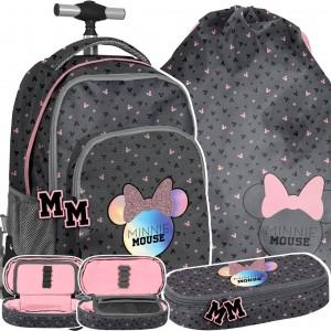 Trojčasťová školní taška na kolečkách Mickey Mouse