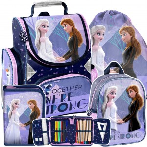 Štvorčasťová školní taška Frozen pro dívky