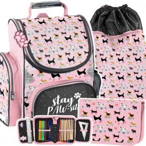 Trojčasťová růžová školní taška se pejsky