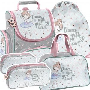 Štvorčasťová školní taška v krásných barvách s baletkou