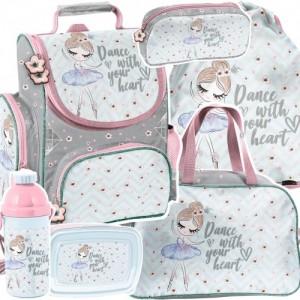 Šesťčasťová školní taška v krásných barvách s baletkou