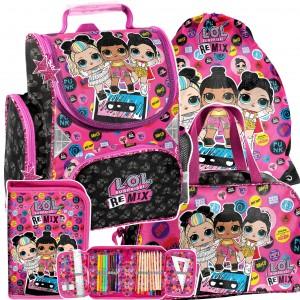 Štvorčasťová školní taška s LOL panenkami