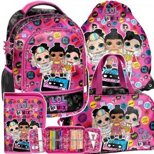 Školní štvorčasťový batoh s LOL panenkami