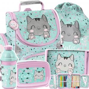 Praktická školní 5-dílná taška s roztomilým koťátkem
