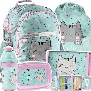 Praktický školní 5-dílný set s roztomilým koťátkem