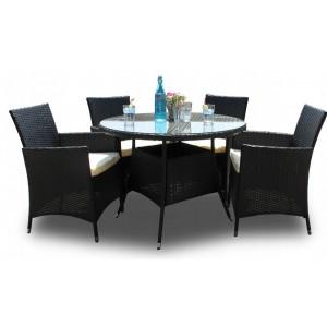 Zahradní ratanový set stolku a židlí v černé barvě