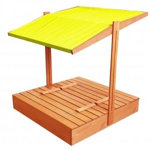 Zavíratelné pískoviště s lavičkami a stříškou žluté barvy 120 x 120 cm