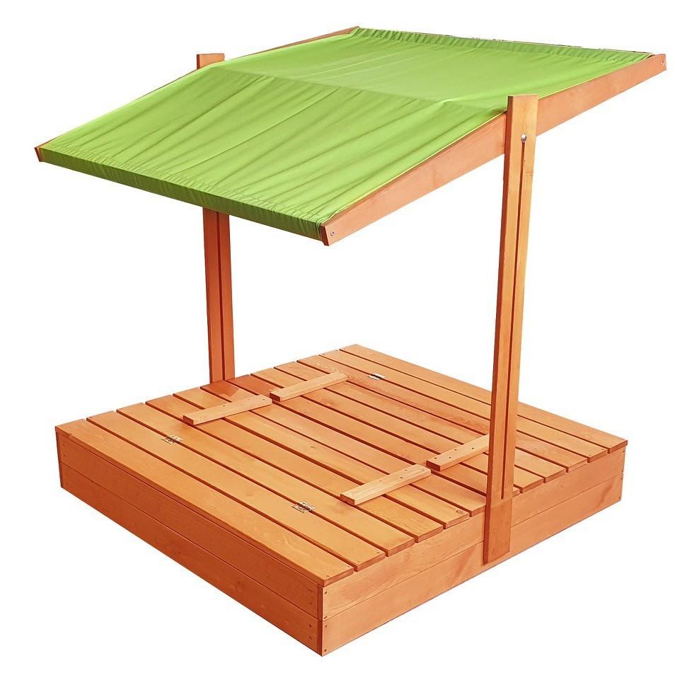 Zavíratelné pískoviště s lavičkami a stříškou zelené barvy 120 x 120 cm