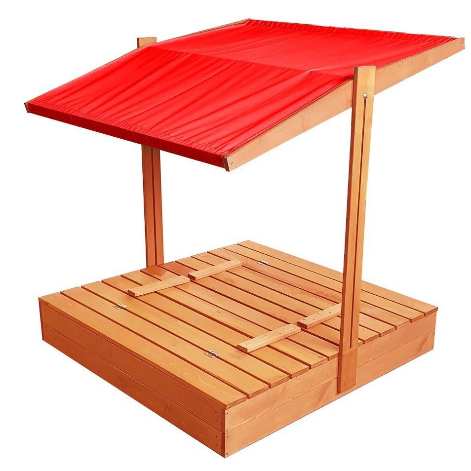 Zavíratelné pískoviště s lavičkami a stříškou červené barvy 120 x 120 cm