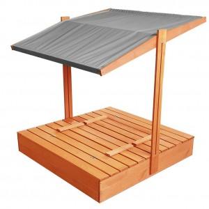 Zavíratelné pískoviště s lavičkami a stříškou šedé barvy 120 x 120 cm