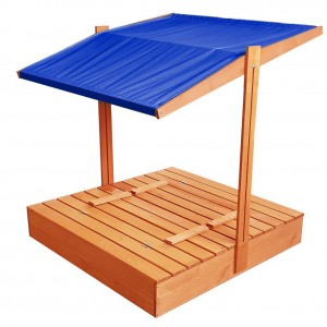 Zavíratelné pískoviště s lavičkami a stříškou modré barvy 120 x 120 cm