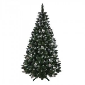 Luxusní a pohádková zasněžená vánoční borovice s dekoraci šišek 220 cm
