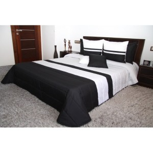 Přehoz na manželskou postel černo bílé barvy