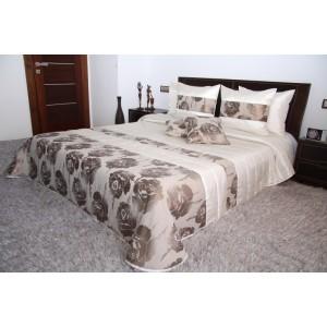 Luxusní krémově béžový přehoz na manželskou postel s motivem květin