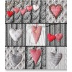 3D přikrývka na jednolůžko šedé barvy s motivem srdcí