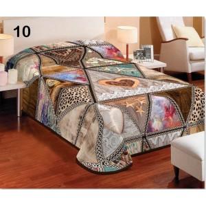 Hnědý 3D potah na postel v rustikálním stylu se srdcem