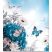Přikrývka na jednolůžko bílo tyrkysové barvy s květinami a motýly