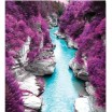 3D přikrývky na jednolůžko fialové barvy s motivem čisté řeky