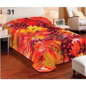 Denní oranžová deka na postel s motivem podzimního listí