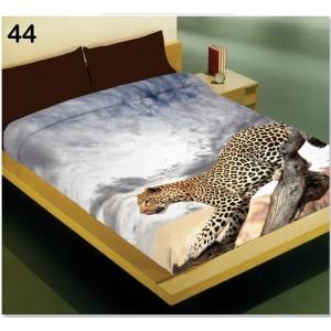 Přikrývka na jednolůžko šedé barvy s motivem leoparda