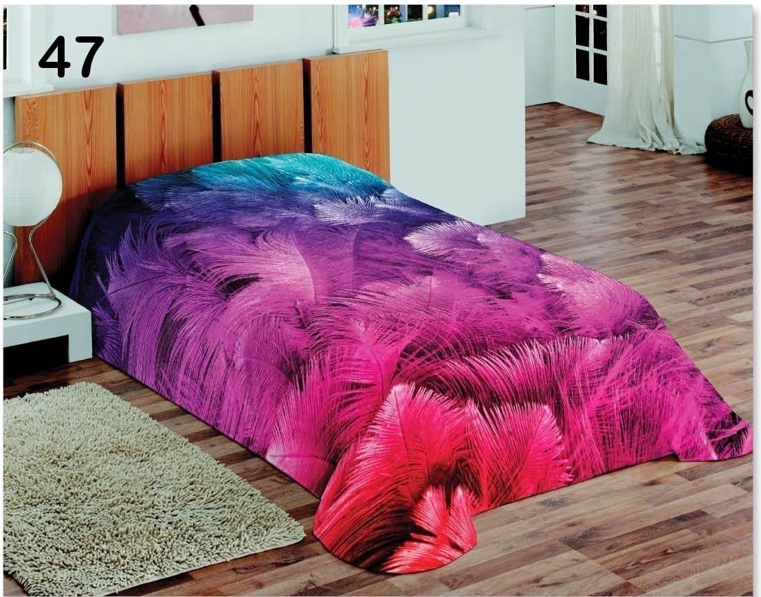 Fialové dětské deky na postel s fialovo modrými pírky