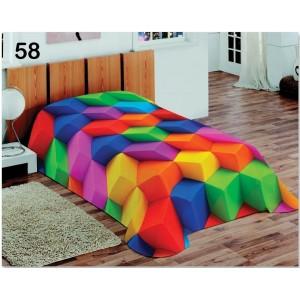 Barevná 3D deka a přehoz s motivem barevných kostek