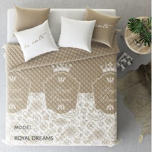 Přehoz na manželskou postel světle hnědé barvy prošívaný