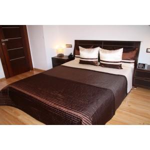 Luxusní přehozy na postel v hnědé barvě s pásky