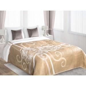 Béžové oboustranné plédy na postel s bílým motivem
