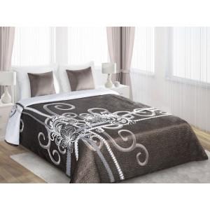 Luxusní a moderní hnědé přehozy oboustranné na postel
