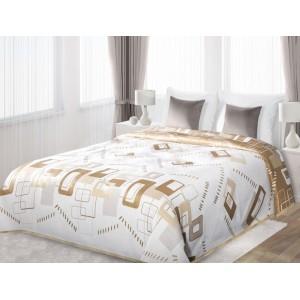 Přehoz na manželskou postel bílé barvy s béžovými útvary