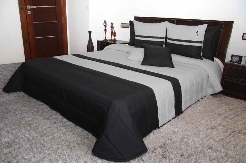 Prošívaná přikrývka na dvoulůžko v černé barvě s šedými pruhy