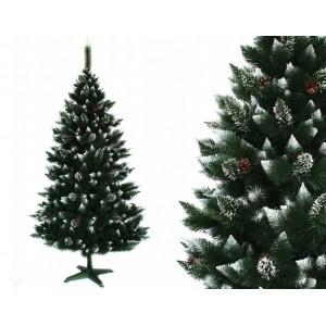 Kouzelná vánoční borovice zdobená šiškami 220 cm s jemně zasněženými konci