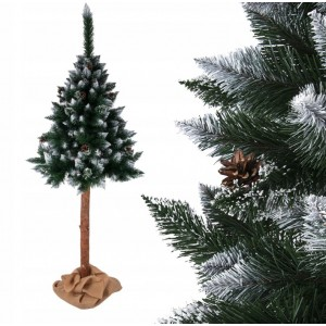 Jedinečná jemně zasněžená umělá vánoční borovice na pni 150 cm