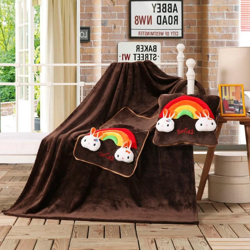 Multifunkční dětská deka tmavě hnědé barvy s duhou