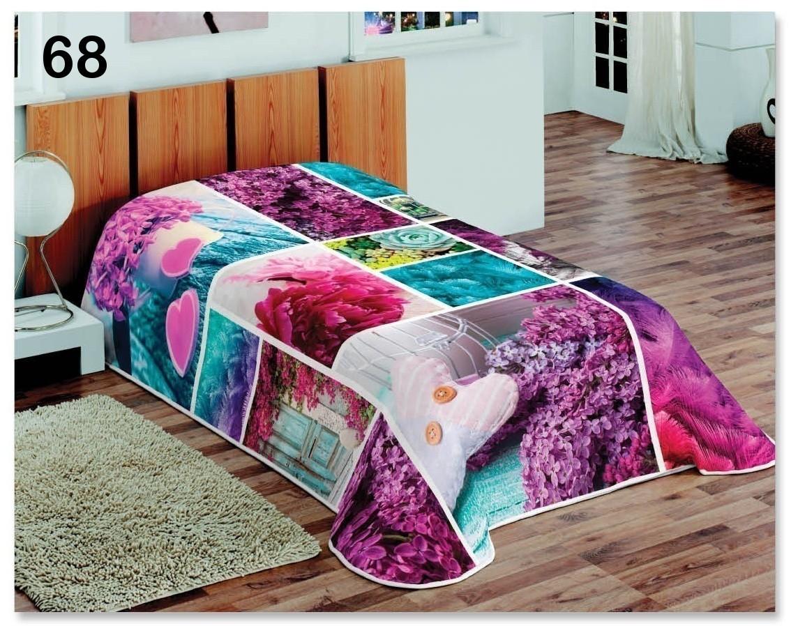 Barevné přehozy na postele s motivem fialovýho a ružového orgoanu