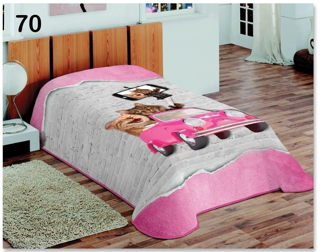 Šedě růžový 3D potah na postel se selfie kočkami