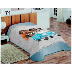 Přehozy přes postel v šedomodré barvě se pejsky