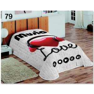Dekorační přikrývky a deky v bílé barvě s motivem Love music