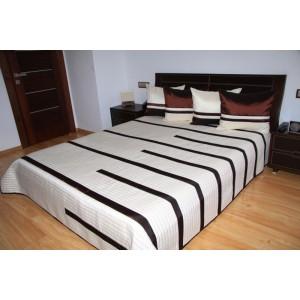 Luxusní přehozy na postel v krémové barvě s proužky